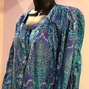 J Lopez silky blue & purple snakeskin blouse 0X